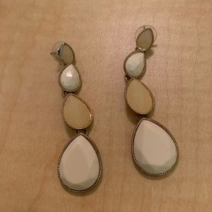 Long Nude and White Earrings
